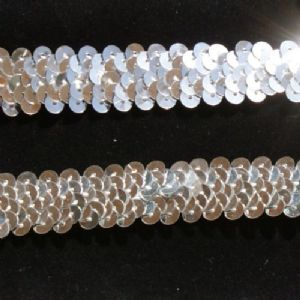 CLEARANCE 12mm Metallic Silver Stretch Sequin Braid